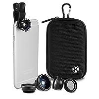 CamKix 智能手机无线蓝牙相机快门遥控器 - 制作令人惊叹的照片和自拍D0223-LSB-BLA 5in1 Universal Lens Kit and Shutter Remote