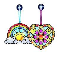 Melissa & Doug 简易彩色玻璃手工制作套装:心型和彩虹图案- 带多于80张贴纸
