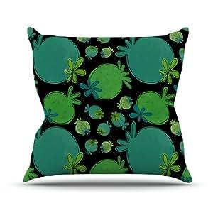 Kess InHouse Jane Smith Garden Pods 绿色水鸭户外抱枕,45.72 x 45.72 cm
