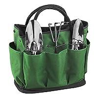 花园工具包 10 个口袋手提园艺工具存储整理包 600D 牛津草坪庭院手提包 小巧手工工具套装支架包 适用于室内户外园艺,不含工具 * TRA-BAG-0276-GLN