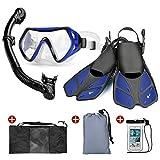 Odoland 6 合 1 浮潜套装,成人面具防溅通气管可调游泳脚蹼轻质背包防水箱