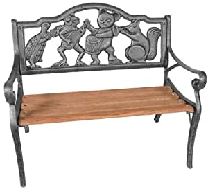 Oakland Living Band Kiddy Cast Iron and Wood Bench in Antique Bronze Finish Medium Wood 26.5L x 15.5W x 22.5H in.