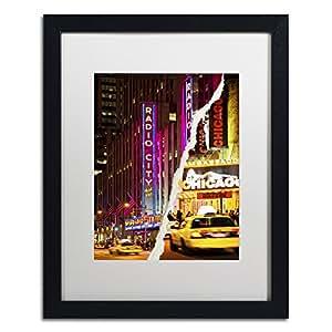 "Trademark Fine Art Taxis Manhattan by Philippe Hugonnard Artwork, 16 by 20"", White Matte/Black Frame"