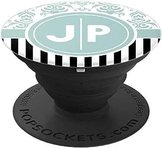 JP Phone Grip 双首字母字母 JP 交织礼物 - 手机和平板电脑的 PopSockets 握把和支架260027  黑色