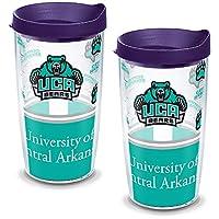 Tervis 1141138 阿肯色州中部熊队标志玻璃杯带包装与皇家紫色盖子 2 件装 16 盎司(约 453.6 克),透明