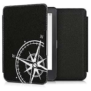 kwmobile Case for Kobo Clara HD - Book Style PU 皮革保护套 e-Reader Cover Folio Case - 白色/黑色45220.10 .Navigational Compass white/black