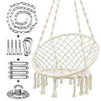 WBHome 吊床椅 流苏 秋千 适合室内户外使用,手工编织棉绳,*大重量 266.7 千克(含悬挂五金件)