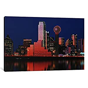 "iCanvasART 1 Piece Reflection of skyscrapers in a lake, Digital Composite, Dallas, Texas, USA Canvas Print by Panoramic Images, 18 x 12""/0.75"" Deep"