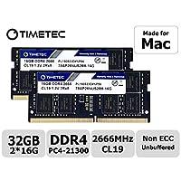 Timetec Hynix IC 兼容苹果 2019 iMac 27 英寸 w/Retina 5K 显示屏,2018 年末 Mac Mini DDR4 2666MHz PC4-21300 CL19 1.2V SODIMM 内存 RAM * 32GB KIT(2x16GB)