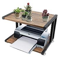 FADDA 打印机支架桌面架,适用于打印机桌面收纳架,家庭办公打印机桌面,带 4 个垫子,2 层 棕色