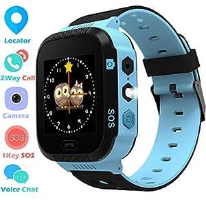 儿童 GPS 追踪手表男孩女孩 - 智能腕表带 GPS 位置 SOS 数字手表相机手电筒游戏儿童兼容 iPhone/Android 儿童智能手表 01 蓝色