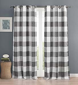 家居时尚乡村格纹方格遮光房间暗黑索环顶部窗帘一对 黑色 37 X 84 Premium Quality