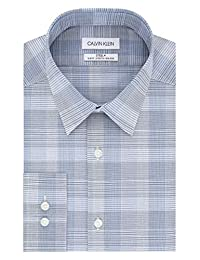 Calvin Klein 卡尔文·克莱恩 男式 修身免烫弹力格子正装衬衫