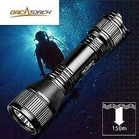 ORCATORCH D550 水肺潜水灯 2019 *版附赠冷藏贴纸、LED 水下手电筒套件包括充电电池、手腕带、O 形环