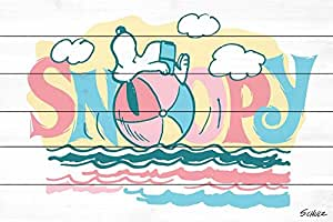 """花生""""Beach Ball Snoopy""""印花白色木质 36"""" x 24"""" PE-FITS-04-WW-36"""