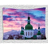 Ambesonne Wanderlust Decor Collection, Sunset And Cloud Over Cityscape Kiev, Ukraine, Europe Church Cloudy Evening Urban, Bedroom Living Room Dorm Wall Hanging Tapestry, 80W X 60L Inch