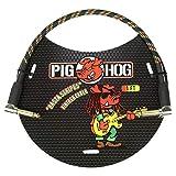 Pig Hog PCH1RAR Rasta 条纹 直角 0.635 厘米到右角 0.64 厘米仪器接插线,1 英尺
