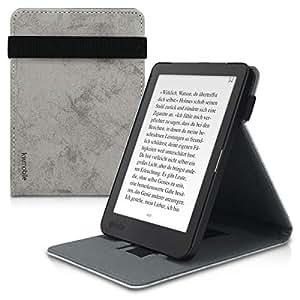 kwmobile 套适用于 Kobo Clara HD - PU 皮电子阅读器保护套内置手提带和支架 - 灰色46106.01_m001201 .Watercolor grey