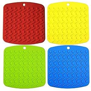 4 件多功能硅胶干燥垫,硅胶锅架,三叶窗,罐装,防滑耐热热热垫 圆点 Silicon Pad-M/Color-4PC-Dot