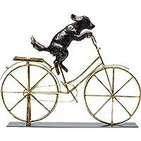 Kare Design 装饰物狗带自行车,有趣的装饰品,金色自行车上的狗,客厅的吸引眼球(高/宽/深)35.5 44 7.5