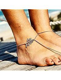 Aukmla 波西米亚脚链 银叶脚链 脚链 脚链 沙滩脚链 女士和女孩脚链-010