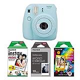Instax Mini 9 Kamera eisblau mit Filmset monochrome, rainbow und weiß Special
