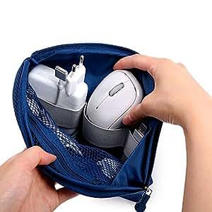 【买2件总价减5元 3件减10元 4件减15元】Naphele奈菲乐 升级版旅行数码电子产品整理包 数据线移动电源收纳包 多功能收纳袋 两个装(大号1+小号1) (藏青)