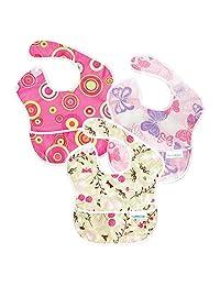Bumkins 防水婴儿围嘴,3 只装,女婴款(G6 - 粉色泡泡/梦幻蝴蝶/摇曳花朵)