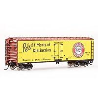 BACHMANN 百万城 HO美国系列仿真金属车轮40尺黄色色木制冷藏车火车模型19807