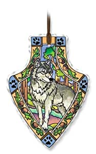 Amia 41121 Hand Painted Glass Arrowhead Sun Catcher, Wolf, 4 by 6-Inch