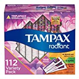 Tampax Radiant Plastic Tampons, Regular/Super/Super Plus Absorbency Triplepack, Unscented, 28 Count, Pack of 4