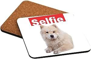 Rikki Knight Selfie Samoyed Dog Design Cork Backed Hard Square Beer Coasters, 4-Inch, Brown, 2-Pack