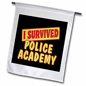 dooni Designs 生存语录–I survived 警察学院生存骄傲和幽默设计–旗帜 12 x 18 inch Garden Flag