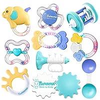 Baby Rattle 牙胶玩具套装,不含双酚 A,婴儿磨牙玩具,彩色摇铃和音乐手铃,适合 3-6 个月婴儿,新生儿礼物,10 件装