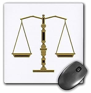 "3D 玫瑰哑光鼠标垫 - 20.32 x 20.32 cm Elegant Blackgold Scales Of Justice 8 x 8"""