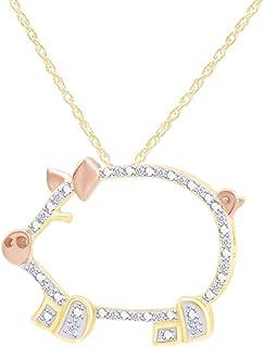 圆形切割白色天然钻石双色猪吊坠 14K 金纯银