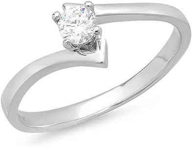 0.20 Carat (ctw) 14K White Gold Round Cubic Zirconia Solitaire Promise Bridal Ladies Engagement Ring 1/5 CT (Size 7)