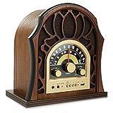 Pyle Retro 音箱 复古收音机 - 经典风格立体声,无线蓝牙接收器扬声器,内置全范围音响系统复制品,USB,MP3 播放器,AM/FM 调谐器 - PUNP37BT 核桃