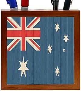Rikki KnightTM World Flags on Distressed Wood Design (A-C) Design 5 Inch Tile Wooden Tile Pen Holder