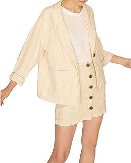 Santuary 女式亚麻缺口领单扣西装