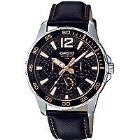 Casio 卡西欧 MTD330L-1A3V 男式海洋运动皮表带 50M 多功能黑色表盘手表