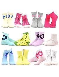 teehee 儿童女孩棉质基础款船袜12双装