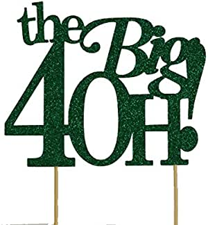 All About Details The Big 4OH! 蛋糕装饰,1 件,40 岁生日,40 周年 绿色 6in wide, 4in tall and 4in skewers B01E0L3PTM
