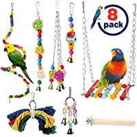 AAWWMI 8 件套鸟类玩具鹦鹉秋千玩具,木珠挂杆带铃铛宠物鸟笼吊床秋千爬梯咀嚼玩具适用于鹦鹉、锥尾、爱鸟、鹦鹉、鹦鹉、鹦鹉、鹦鹉等