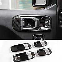 NO7RUBAN 碳纤维风格全套内饰装饰盖饰条适用于 Jeep 牧马人 JL 2018+ 门把手碗、*控制台、齿轮移位、排气口、前灯 Door Handle bowl cover 18+