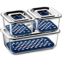 WMF 福腾宝 Top Serve 0654249999 储物容器3件套,带排水格栅