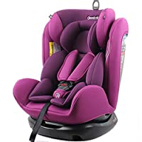 REEBABY 瑞贝乐 汽车儿童安全座椅ISOFIX 0-4-6-12岁婴儿宝宝新生儿可躺 906FIX紫色(亚马逊自营商品, 由供应商配送)