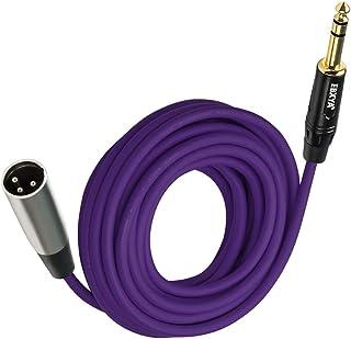 EBXYA1/4 TRS to XLR 公头麦克风插线电缆彩色 25 英尺,紫色