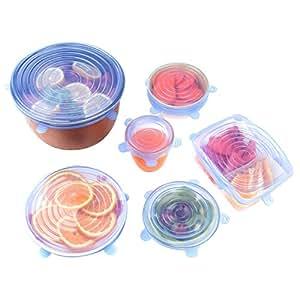 硅胶弹性盖(6 件套),可重复使用的耐用食品罩,可扩展以适应各种尺寸和形状,非常适用于保持食物清新、洗碗机和冰箱* 蓝色