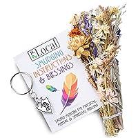 "JL Local Whispers of The Wild 20.32cm 花草涂抹棒 + 可可佩利钥匙扣 - 花卉涂抹套件 美丽混合野花   用于*、清洁、祝福、保护、冥想的熏香 天然 8"""